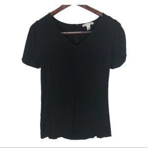 Banana Republic Black Short Sleeve High Low Blouse